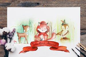 Woodland Animals Collectible Drawing