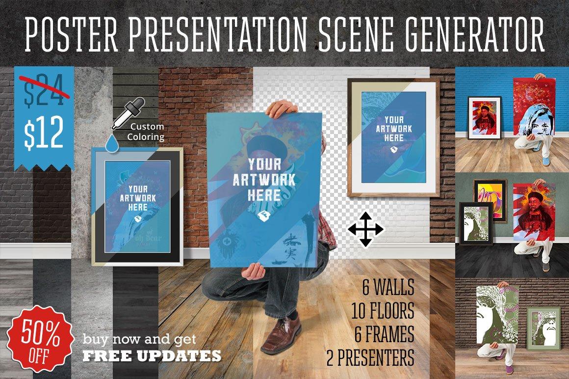 Poster design generator - Poster Presentation Scene Generator Product Mockups On Creative Market