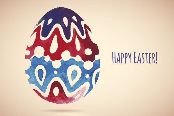 4 Watercolor Easter Eggs