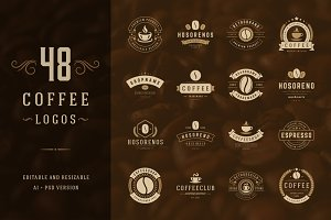 48 Coffee Logotypes and Badges