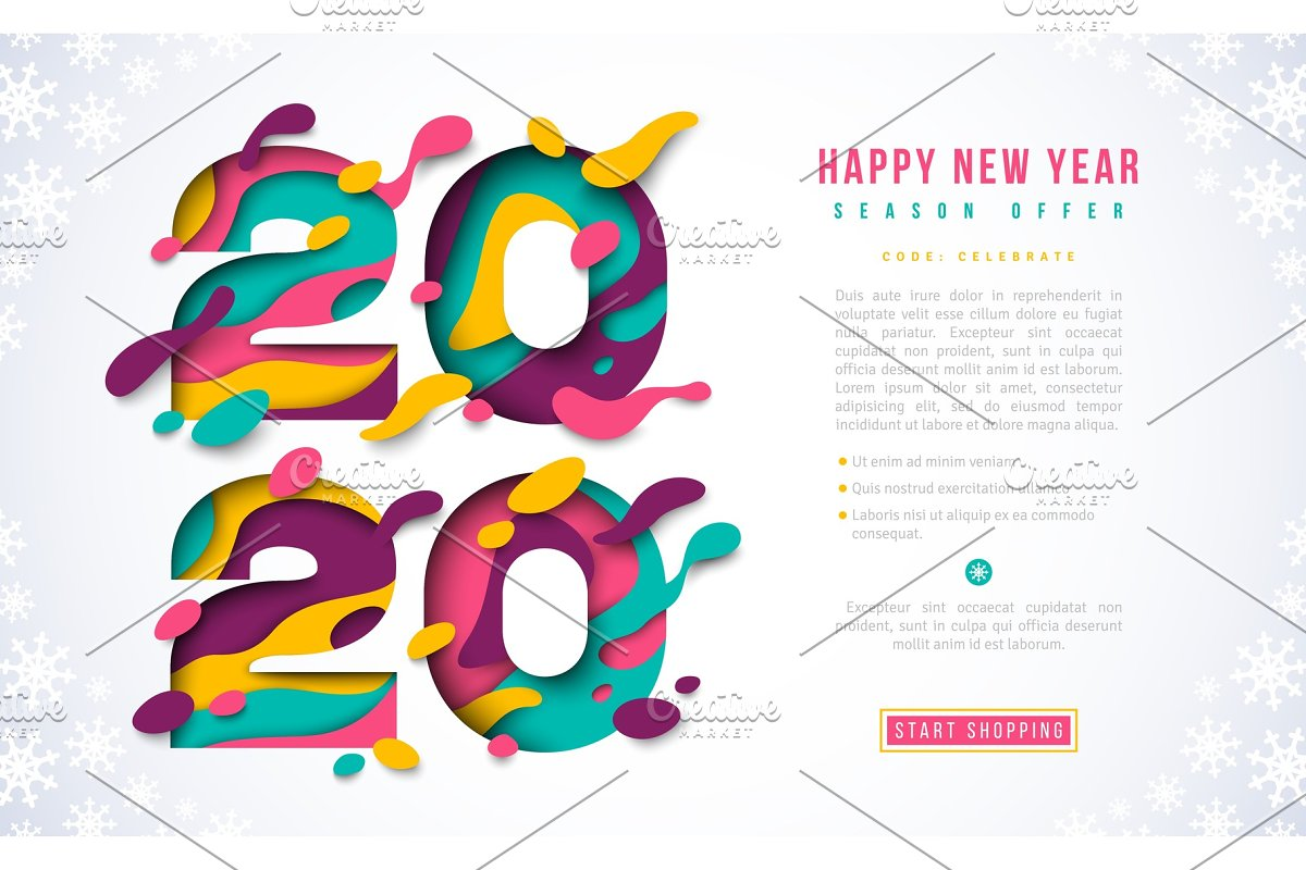2020 Happy New Year script text hand lettering. Design ...