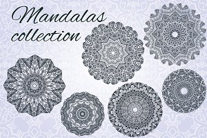 Mandalas collection in hand drawn