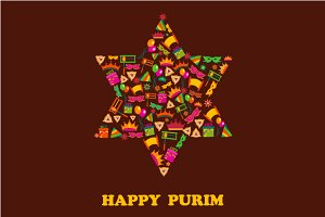 Happy Purim - 3 vector cards