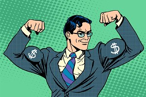 Businessman with muscles dollar