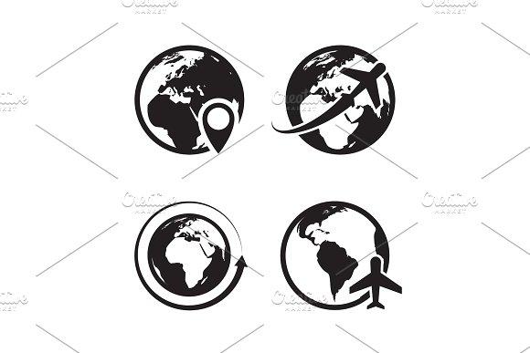 Globe icons set  World earth and