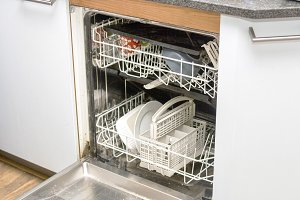 Dishwasher in kitchen