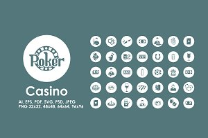 35 Casino simple icons