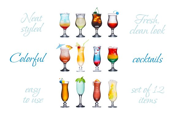 Set of isolated cocktails