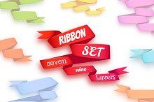 Ribbon set. 7 nice banners