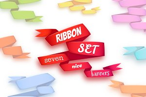 Ribbon set. 7 nice banners