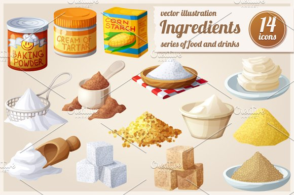 Ingredients for cooking. Food icons in Objects