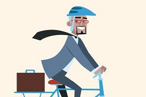 African businessman on bike rides