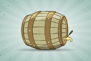 Old wooden barrel of beer. Keg.