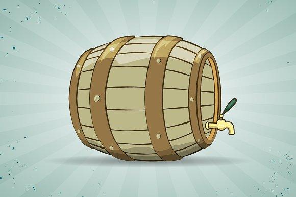 Old wooden barrel of beer. Keg. - Illustrations