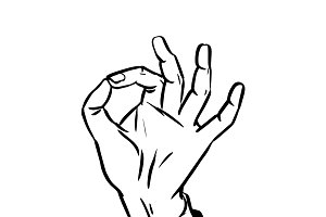 sketch success hand gesture OK