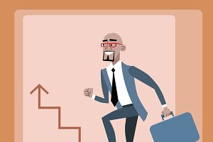 African businessman career ladder