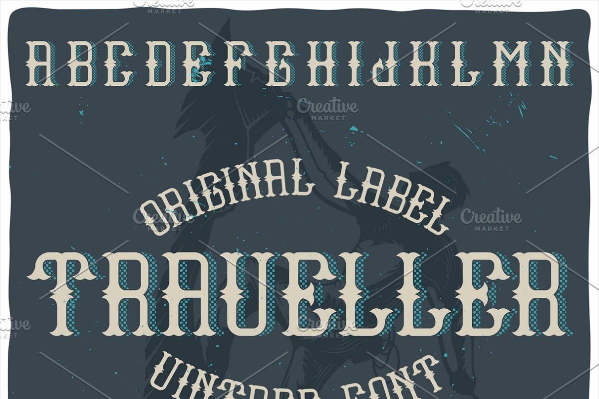 Vintage label typeface Traveller