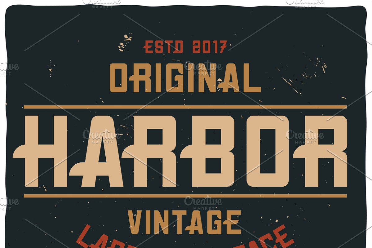 Vintage label typeface Harbor