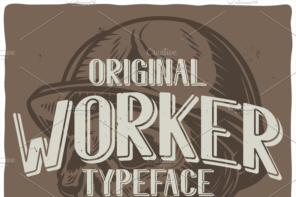 Vintage label typeface Worker