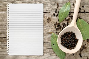 Black pepper and paper for recipe
