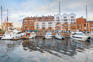 Luxury yachts in harbour of Gdansk,
