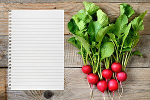 Radishes and paper for recipe