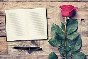 Vintage rose and diary
