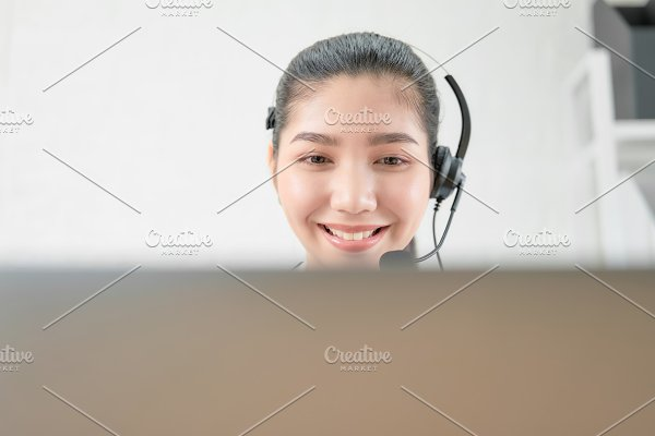 Smiling Asian Woman Consultant Weari Business Photos