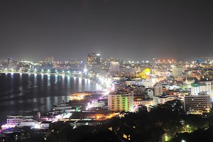 Night panorama of Pattaya. Thailand