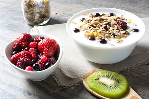 Yogurt with cereals and fruit