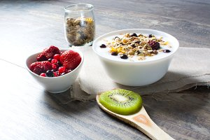Breakfast with yogurt and fruit