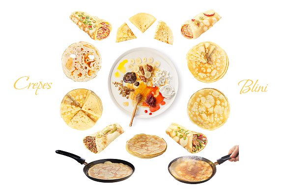 Set of crepes (blini)