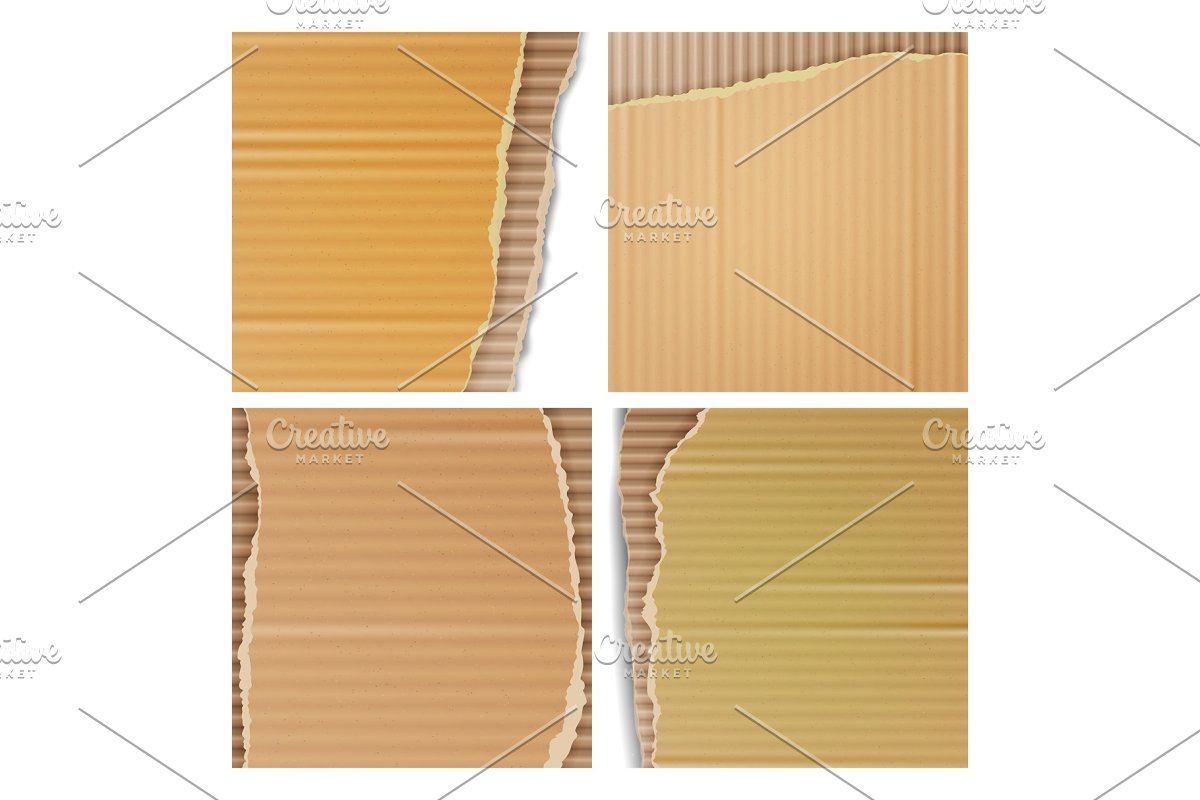 Corrugated Cardboard Vector Set in Textures