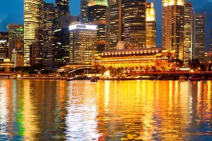Illuminated Singapore view