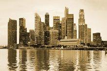 Panoramic sepia view of Singapore
