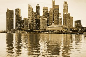 Panoramic sepia view of Singapore
