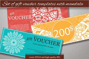 Set of gift voucher templates