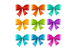 Bow Ribbon Colorful Set. Vector
