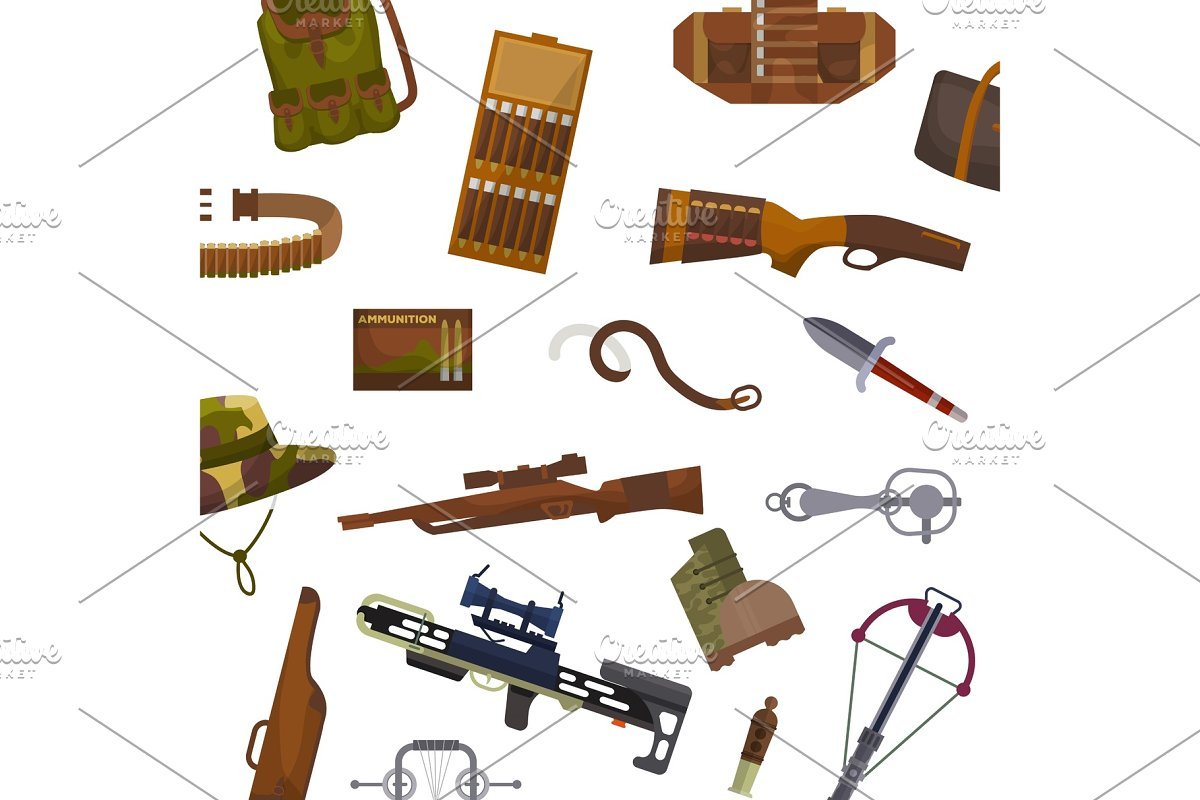 Weapon and hunting vector pattern