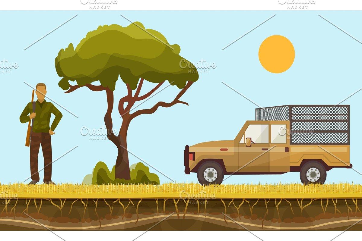 Hunter in safari vector illustration