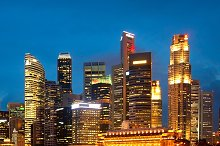 Night view of Singapore downtown