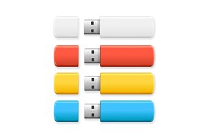 USB Flash Drive Colorful Set.