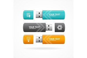 USB Flash Option Banner. Vector