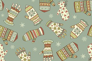 Seamless pattern with mittens