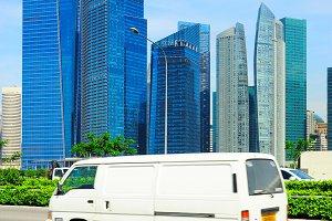 Minibus on the road in Singapore
