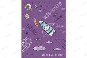Space Cosmonaut Spaceship Poster