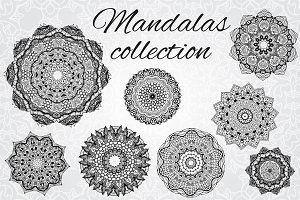 Set of 8 vector mandalas