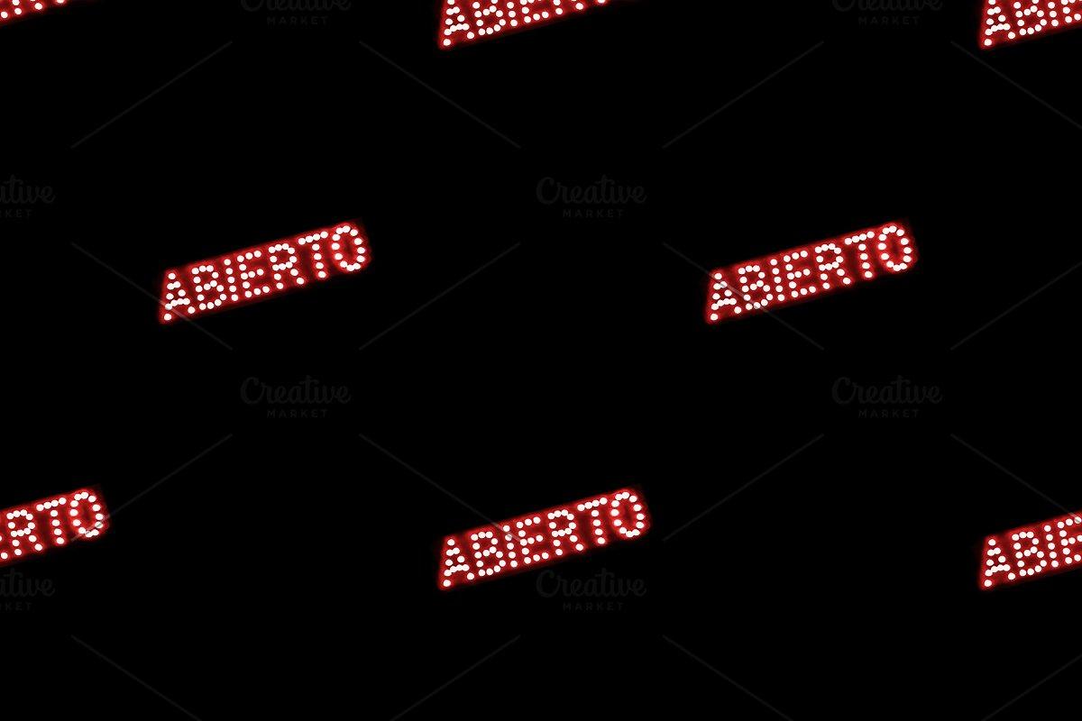 Spanish Open Text Neon Style Print S