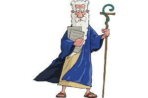 Moses with his staff and tablets
