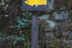 Wooden hiking trail signpost